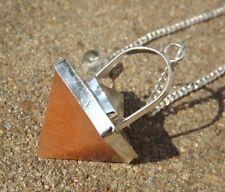 Peach Aventurina Y Cristal De Cuarzo Doble Pyramid curación Radiestesia Péndulo