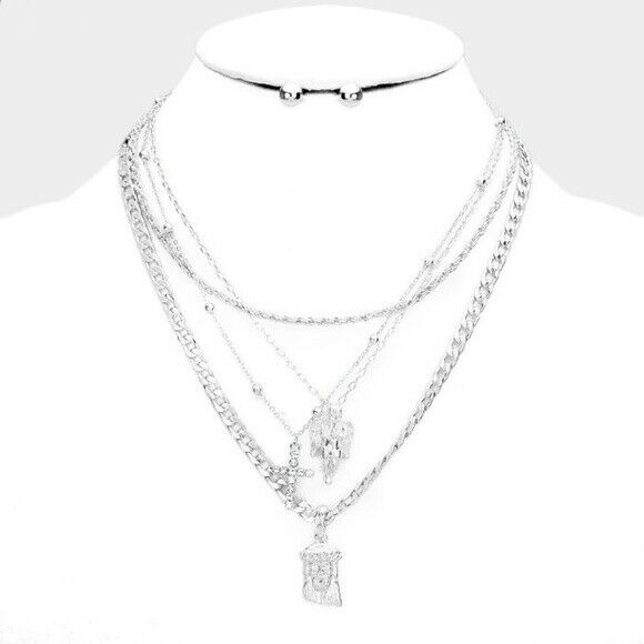 Silver Multi Layered Necklace Pendant Style Statement C