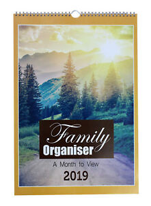 2019 family organiser large a3 spiral planner calendar 5 columns