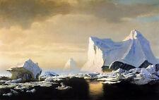 Oil painting william Bradford - icebergs in the arctic stunning landscape canvas