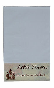 Blanc-Lit-Bebe-Lit-bebe-Drap-Plat-100-Coton-Brosse-Percale-Entierement-neuf-sous-emballage