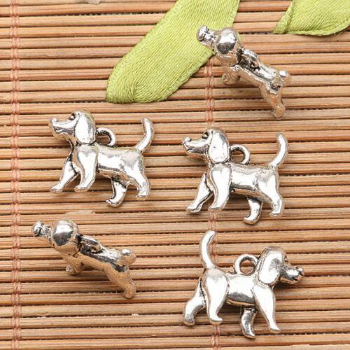10Pcs  tibetan silver tone cute dog  design charms H1059