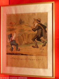 Aquarelle De Chasse Humoristique Dessinateur Lavrate (1829-1888) Avec Cadre à Vendre