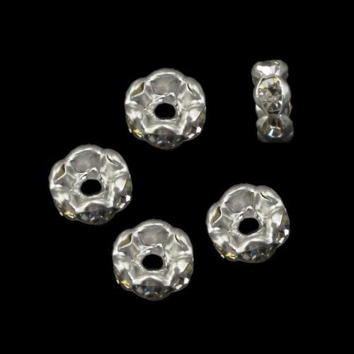 50 Glas Strass Rondell Spacer Metallperlen 6mm SILBER KLAR Rhinestone BEST R25