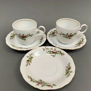 Johann-Haviland-Moss-Rose-Cups-amp-Saucers-Sets-Transitions-Fine-China-Lot-of-5-Pc
