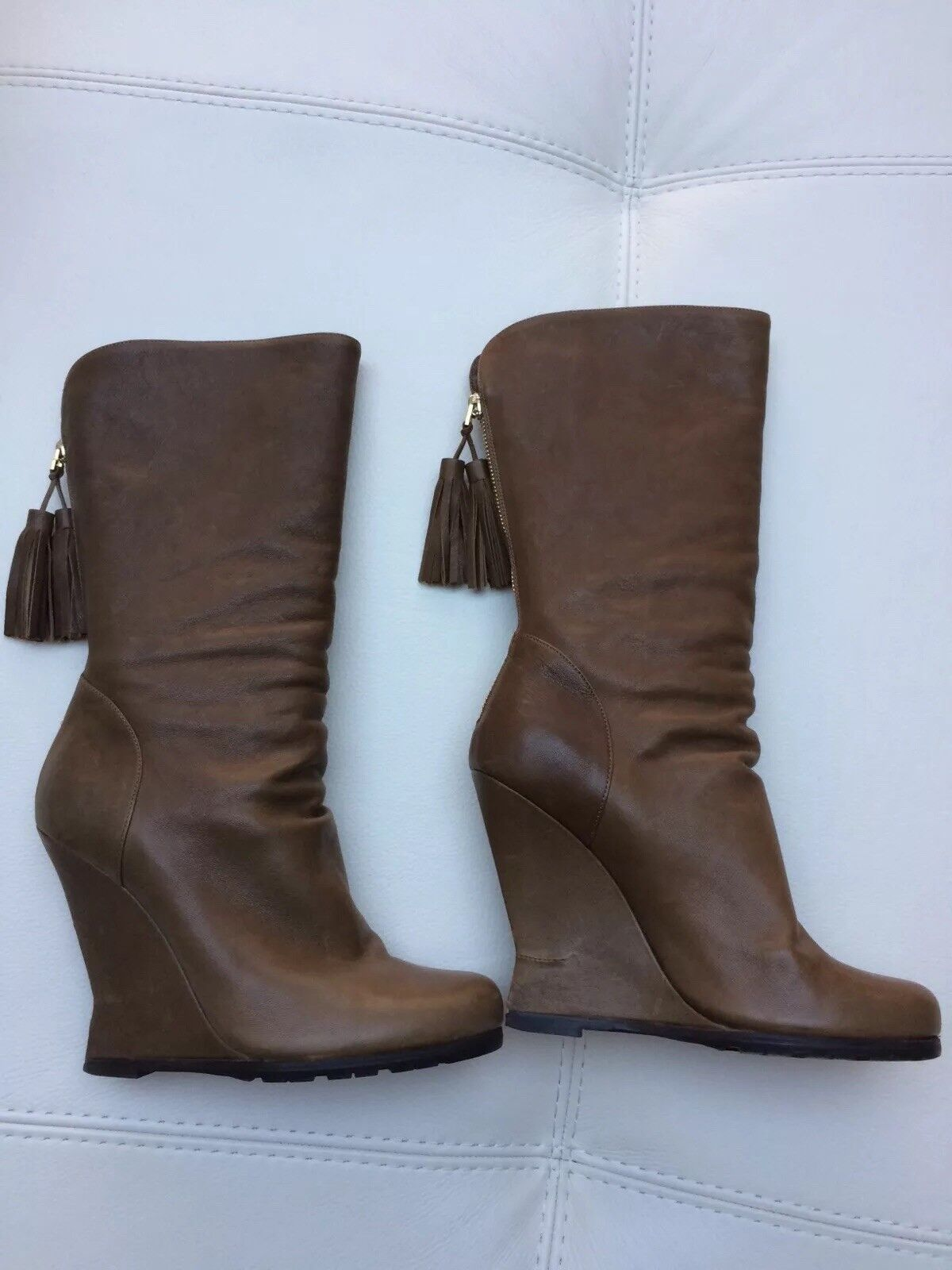 YSL Brown Mid Calf Boots Sz 5 UK nearly New
