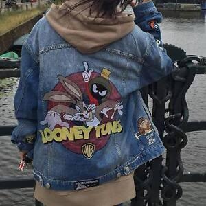 6478c2542 Details about 2019 Womens Denim Jacket Rabbit Graffiti denim Bomber Jacket  denim coat outwear