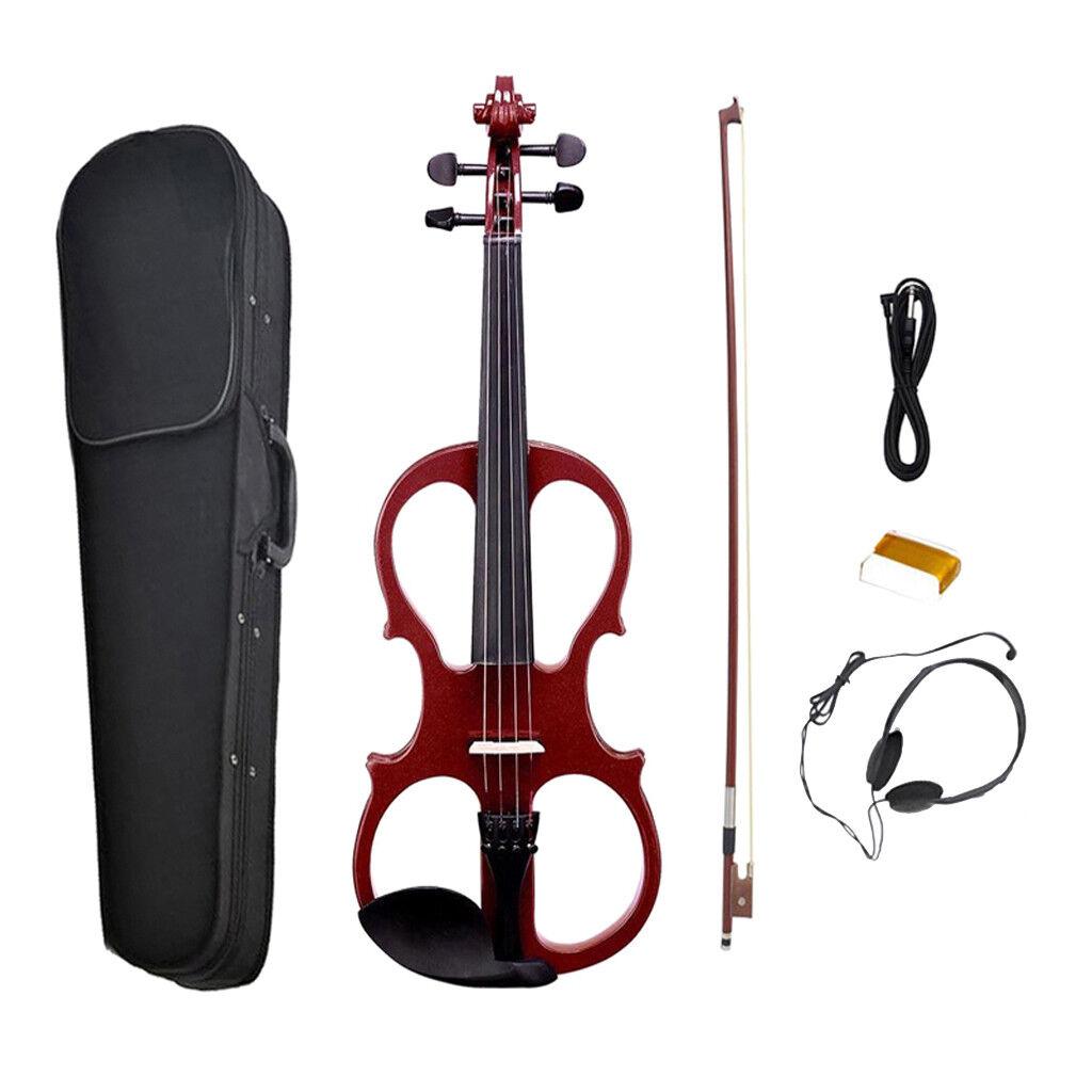 1 1 1 Set Wine rojo 4 4 Silent Electric Violin with Storage Case Box Rosin  salida