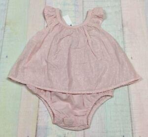 Baby-Gap-Girls-0-3-Months-Lightweight-Pink-amp-Silver-Romper-Dress-Nwt