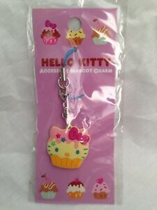 Hello-Kitty-Cupcake-Cellphone-Charm-Bag-Charm-Rare-Kawaii-Sanrio-Trinkets-Yellow