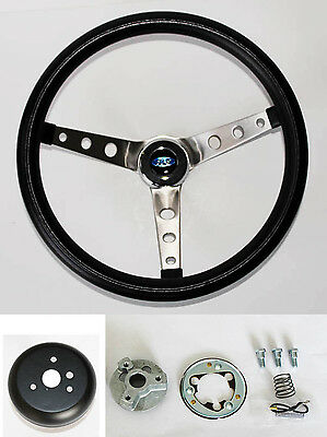 """Bronco F100 F150 F250 F350 Grant Black Steering Wheel 15"""" Round Holes Stainless"""
