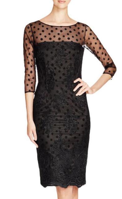 c8c7162f611 David Meister 1963 Womens Black Embroidered Illusion Cocktail Dress 4 BHFO