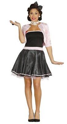 1950s Linea Donna Nero A Pois Rock & Roll Costume Vestito Da Donna-mostra Il Titolo Originale Design Moderno