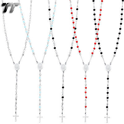 TTstyle 3mm Ball Stainless Steel Rosary Bead Necklace Silver//Gold//Black NEW