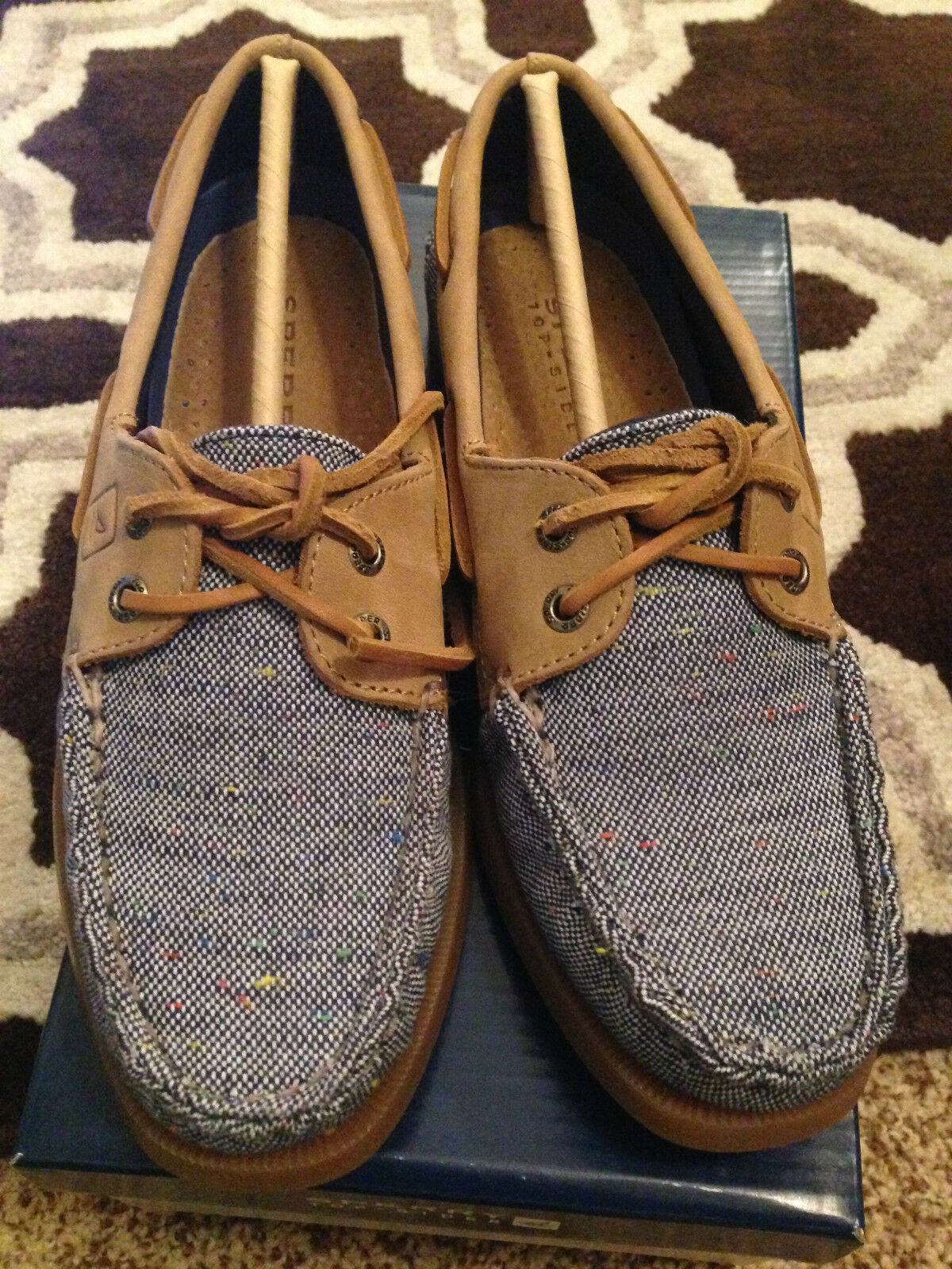Sperry Authentic Original Fleck Canvas 2-Eye Boat shoes 6.5M