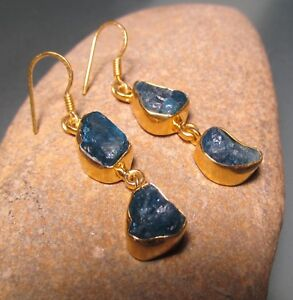 Sterling-silver-with-18k-gold-plate-rough-double-APATITE-earrings