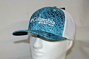 Columbia PFG Hook Patch Flexfit Fitted Mesh Ball Cap Dark Pool Blue in  L//XL