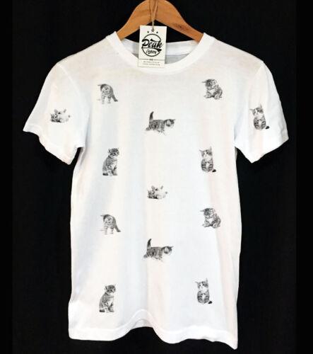 VINTAGE PEAK CLOTHING ORIGINAL DESIGN UNISEX KITTY CAT PATTERN T-SHIRT