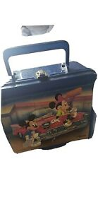 VINTAGE BLUE DISNEY MICKEY MOUSE MINNIE PLASTIC LUNCH BOX WITH THERMOS ALADDIN