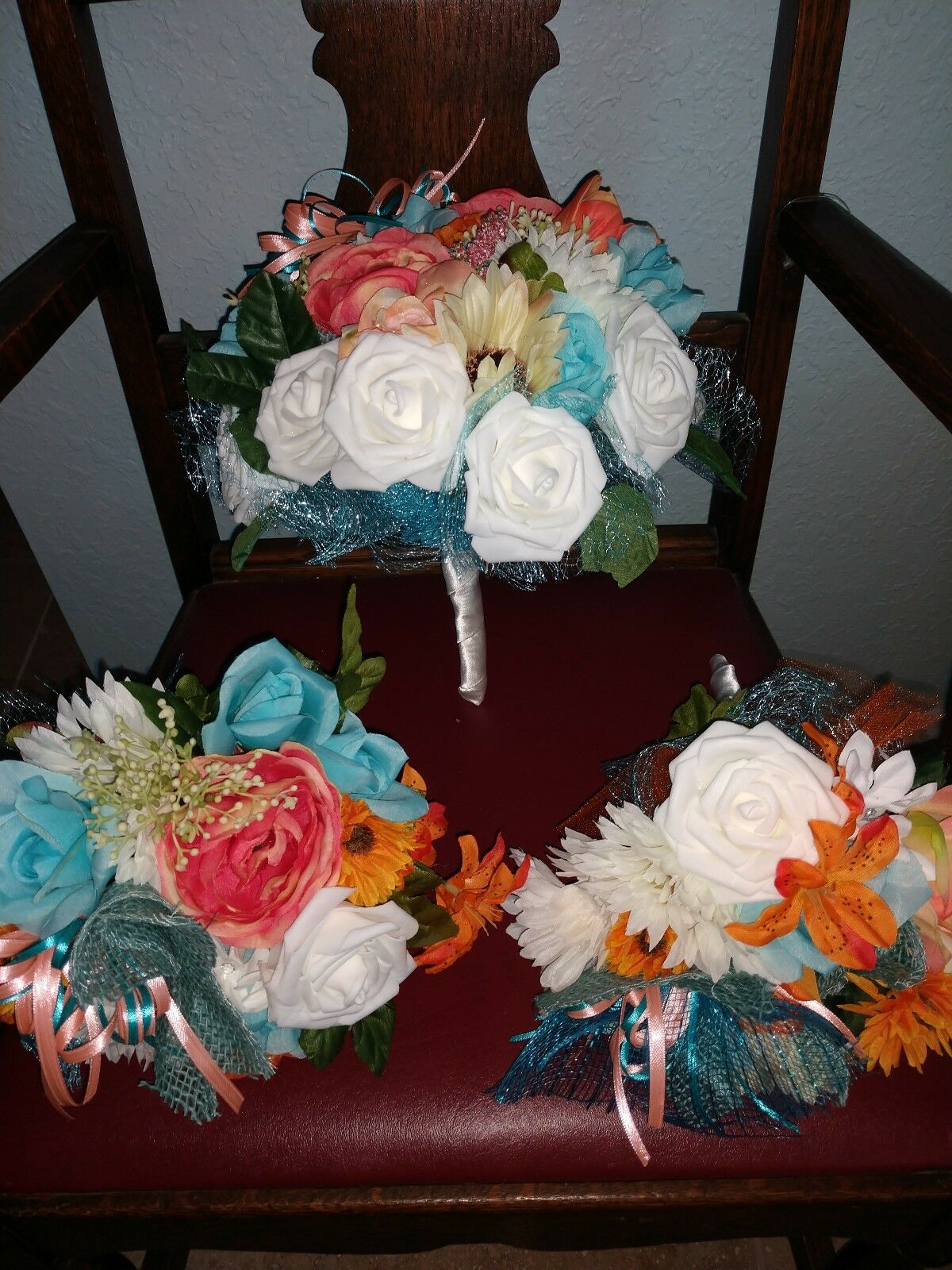 Wedding flowers bridal bouquets decorations coral turquoise ivory blanc 21 PC
