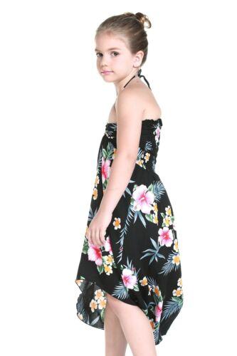 Aloha Butterfly Dress Girl Beach Hawaiian Cruise Luau Dance Blk Floral Hibiscus