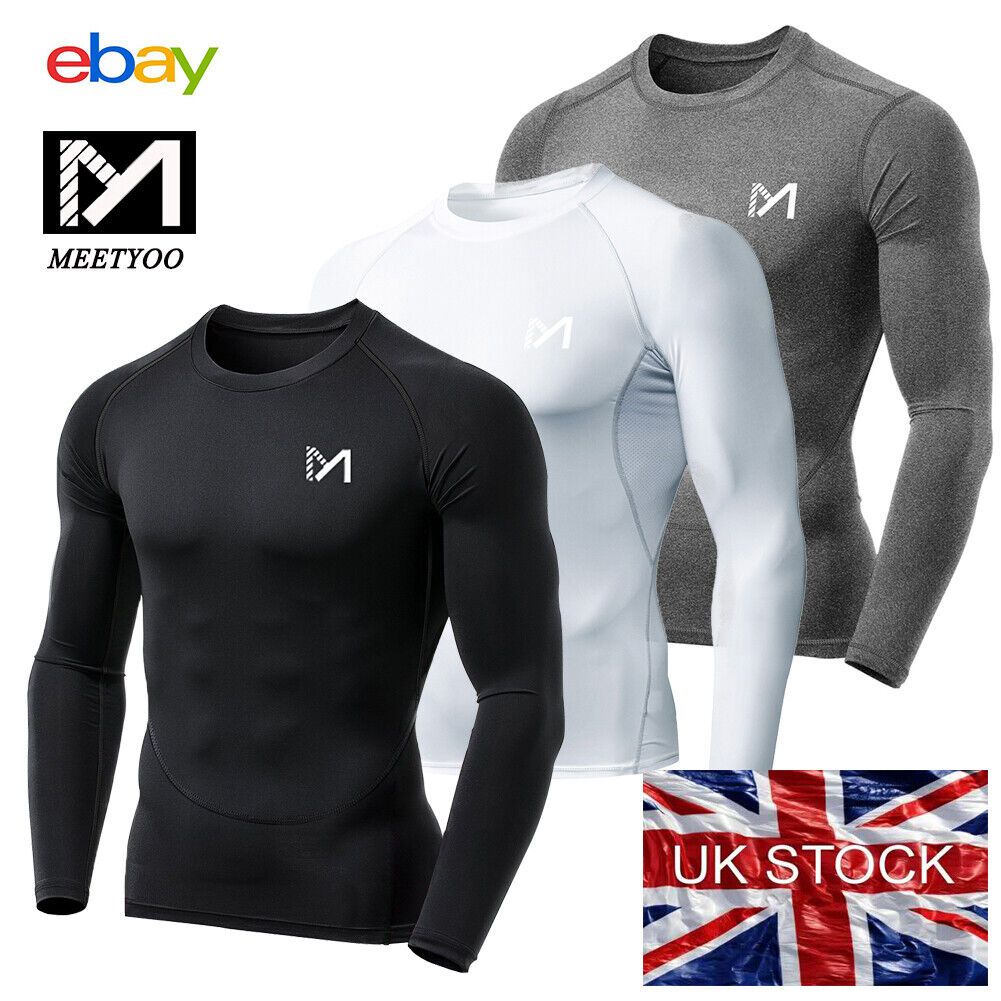 MEETYOO Compression Base Layers PowerLayer Mens Gym Sports Running Skins Tops