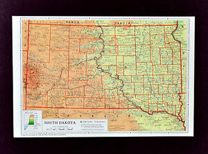 1958 McNally Map - South Dakota - Pierre Black Hills Rapid City Mt. Rushmore