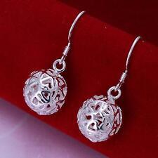 925 Silver Plated Hollow Filigree Heart Cutout Ball Drop/Dangle Hook Earrings