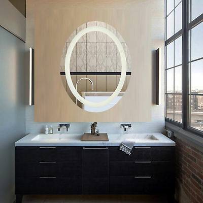 Oval Led Wall Mounted Bathroom Mirror With Dimmable Touch