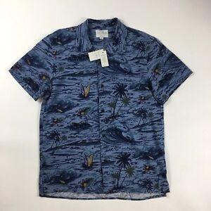 b57108488f Mens Lucky Brand Short Sleeve Button Front Linen Blend Shirt Size ...