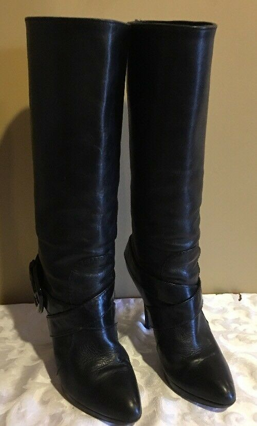 FENDI KNEE HIGH BLACK LEATHER PLATFORMS BOOTS Sz 36