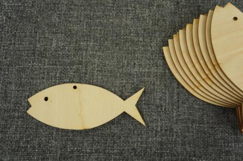 WX6 10 x Plain Wooden Tag  Craft Fish Plaque Hanging Shape Embellishment