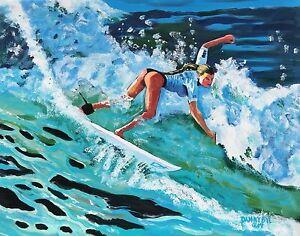 BEACH-Ocean-Wave-Surfer-Original-Art-PAINTING-DAN-BYL-Contemporary-Modern-5x4-ft