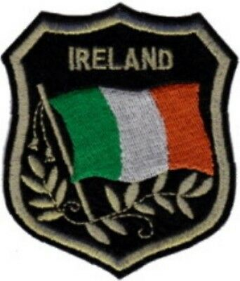 """Lot of 12 IRELAND Flag in shield Embroidered Patches 3.25""""x2.75"""""""