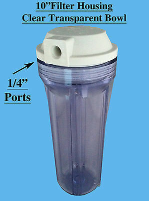 """10"""" Water Filter Housing 1/4"""" Ports Clear Bowl for undersink / reverse osmosis"""
