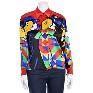 Vtg-ESCADA-Margaretha-Ley-Red-amp-Navy-Multi-Face-Print-Silk-Blouse-Shirt-Top-38-8