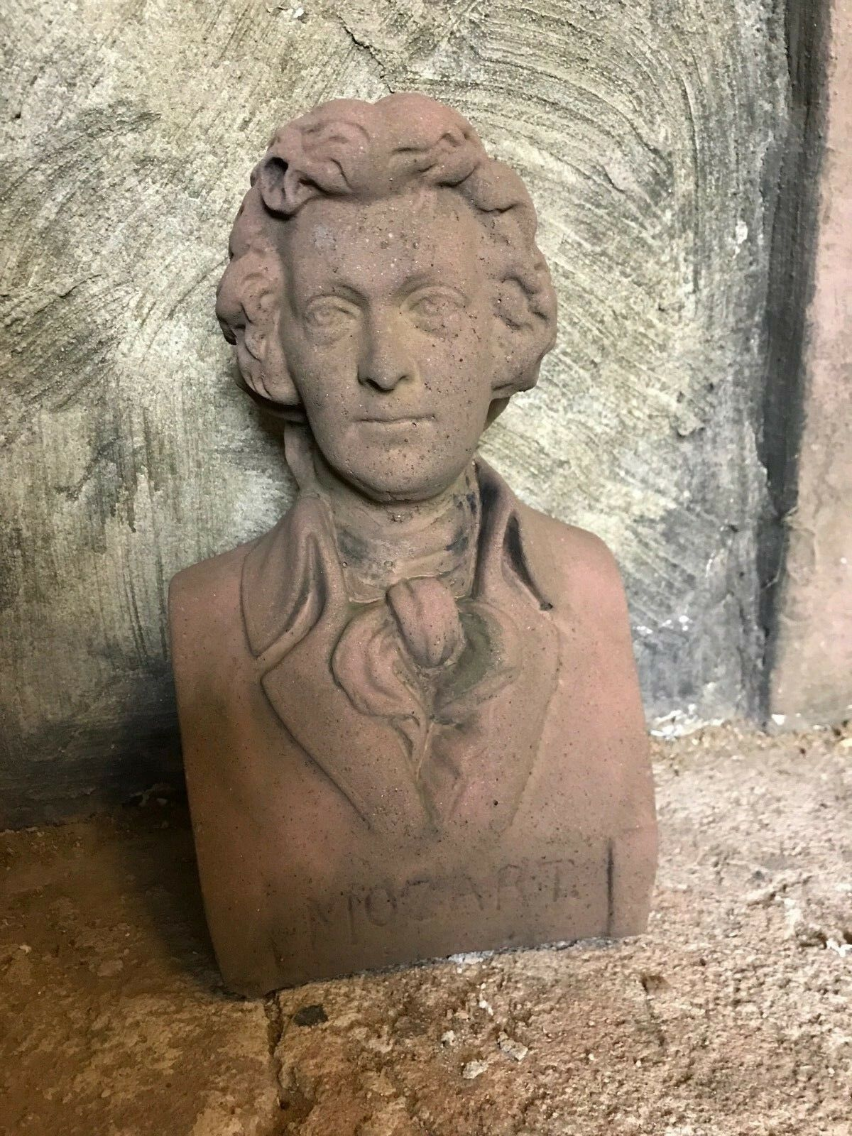 Büste Mozart Musiker Antik Look Sandstein Steinguß H 74 Rot