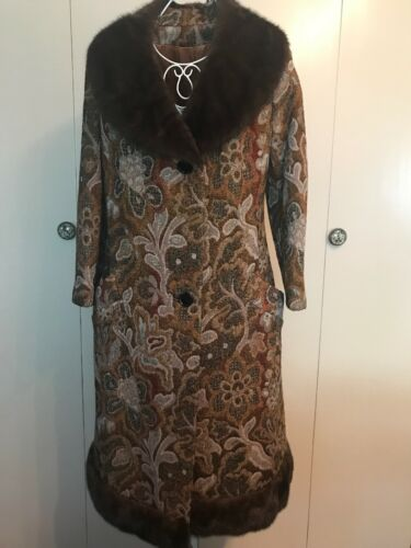 Coat Long Brown S Coat Fur Real Trim Goblet Tapestry Vintage Ixq1SwTXX