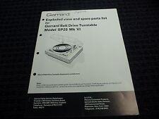 Vtg Original Garrard Manual Exploded View Parts SP25 MK VI Belt Drive Turntable