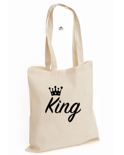 King,Bag King Queen Crown He/'s Mine She/'s Mine Couple 01 Christmas Cotton Tote