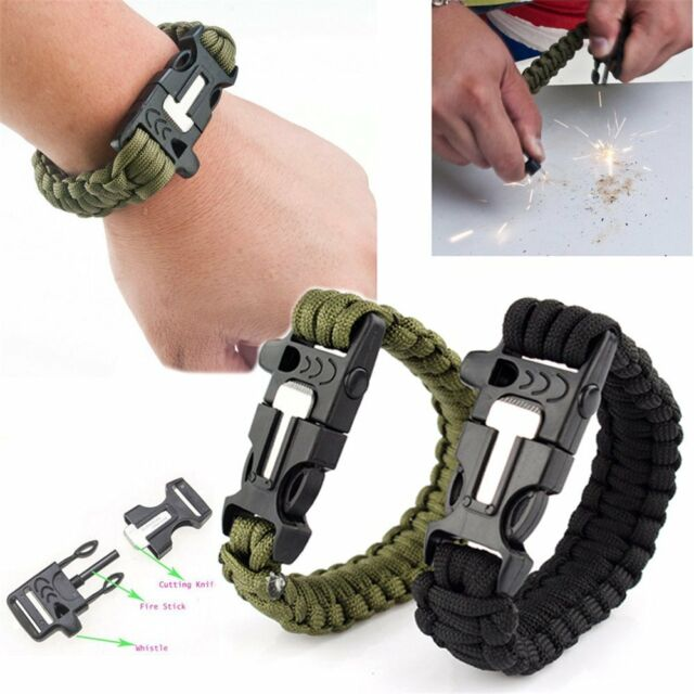 Survival Paracord Bracelet Outdoor Flint Fire Starter Scraper Whistle Gear Kits