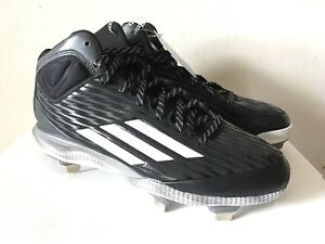 New Adidas S84783 Mens PowerAlley 3 Mid Baseball Shoes Black/White/Carbon Size 9