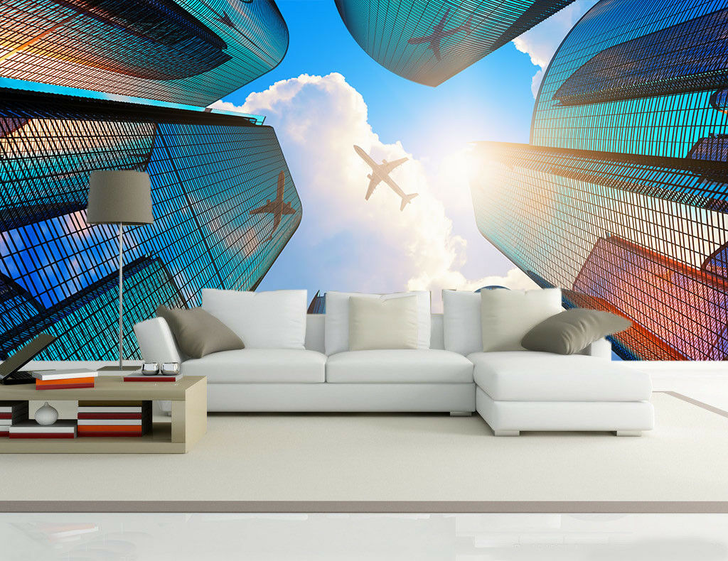 3D Aircraft City 732  Wall Paper Murals Wall Print Wall Wallpaper Mural AU Lemon
