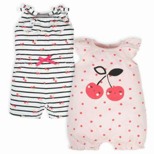 Gerber Baby 2-Pack Baby Girls Cherry Rompers
