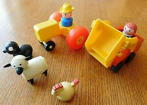 VINTAGE-LOT-OF-SMALL-FISHER-PRICE-TOYS-WELL-LOVED-WITH-SOME-DAMAGE