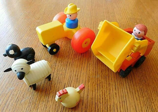 VINTAGE LOT OF SMALL FISHER PRICE TOYS / WELL LOVED
