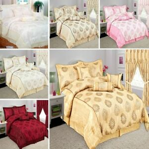 Luxurious 7 Piece Bedspread Glittery Jacquard Comforter Quilted