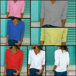 Tops-Solid-Loose-Casual-Jumper-T-Shirt-V-Neck-Womens-Long-Sleeve-Pullover