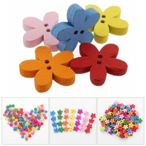 hot 100pcs Mixed Christmas  Flower Sewing Scrapbook Craft Wooden Buttons hot