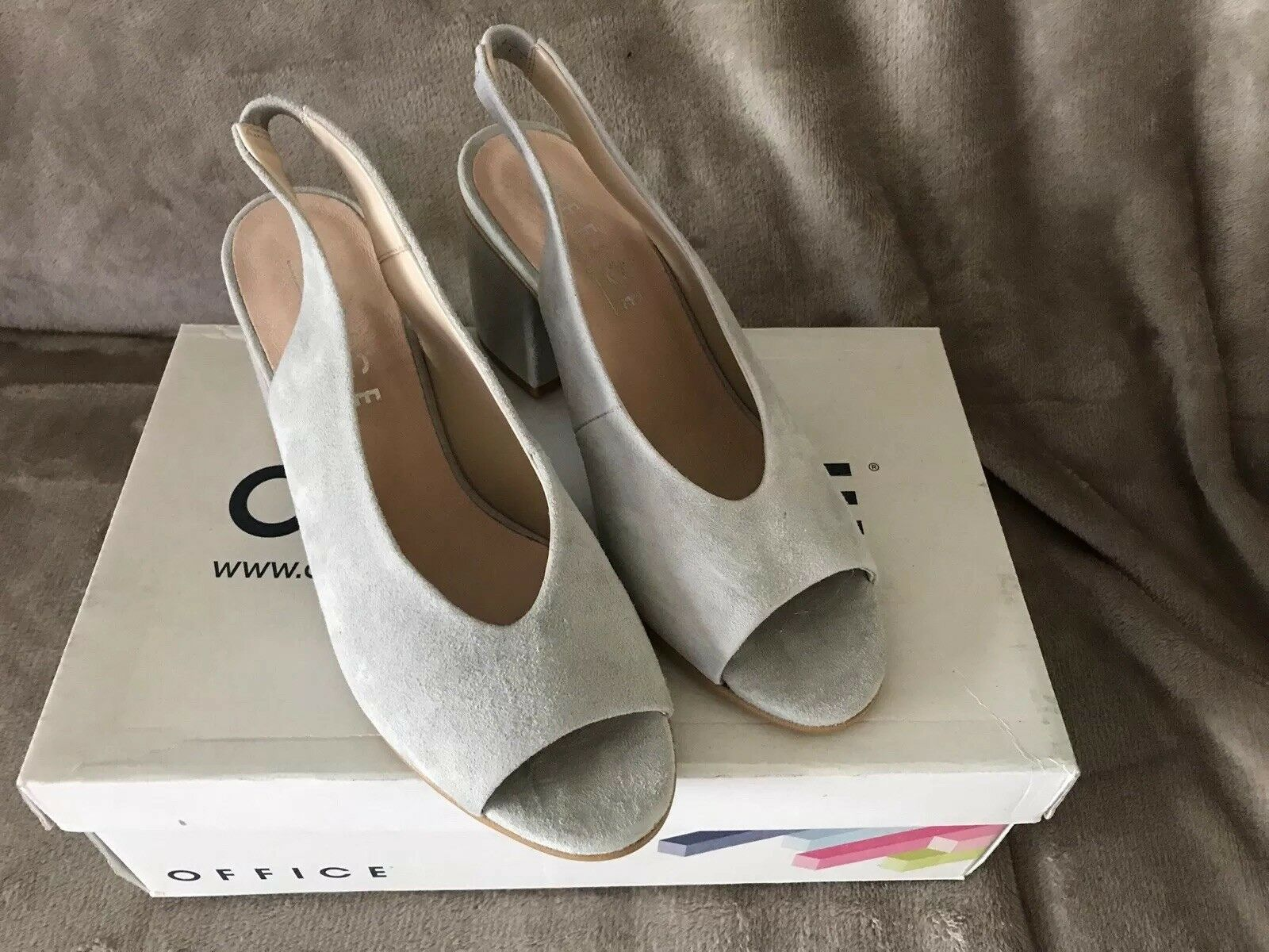 Womens Office Grey Suede Slip On Mid Heels UK Size 3 New In Box